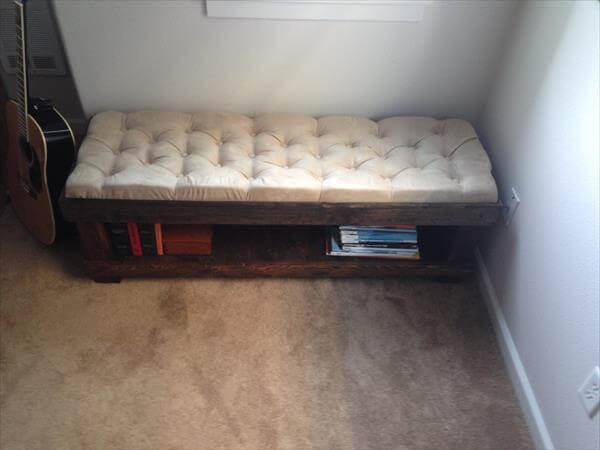 diy pallet tufted bench