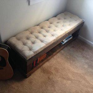 repurposed pallet tufted bench