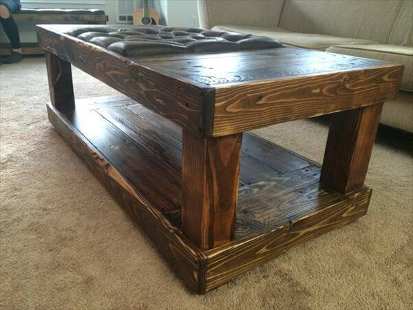 reclaimed pallet tufted coffee table