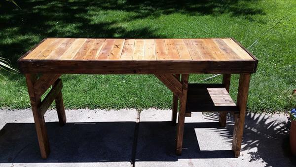 diy pallet wood desk with storage