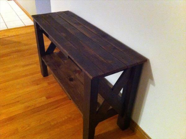 diy pallet entry way table and TV stand