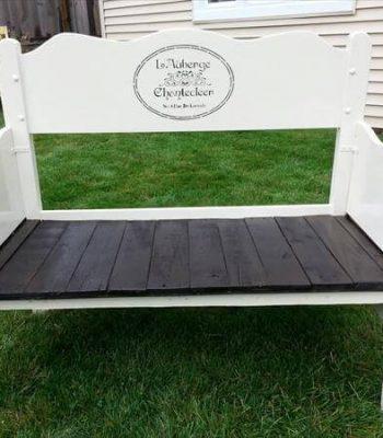 diy pallet white and black garden bench