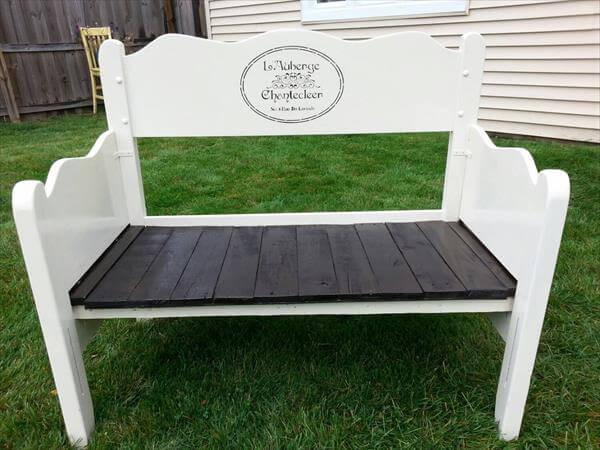 diy pallet white and black garden bench