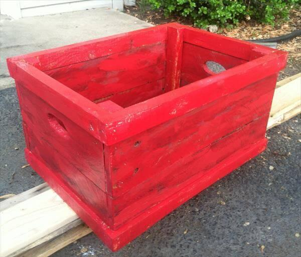 upcycled pallet red crate flower planter