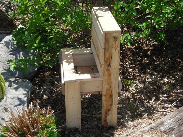 upcycled pallet garden bench planter