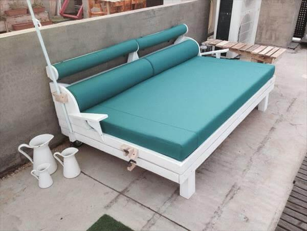 recycled pallet upholstered garden bench