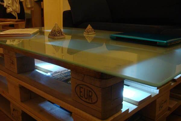 upcycled pallet coffee table with lights