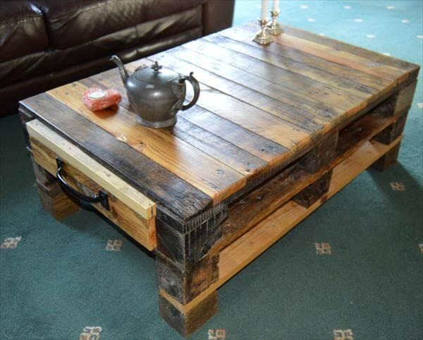recycled pallet coffee table with storage - Pallet Coffee Table