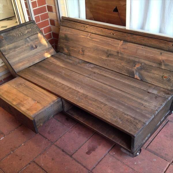upcycled pallet daybed and lounging chair
