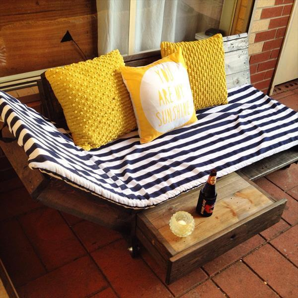 repurposed pallet daybed and lounging chair