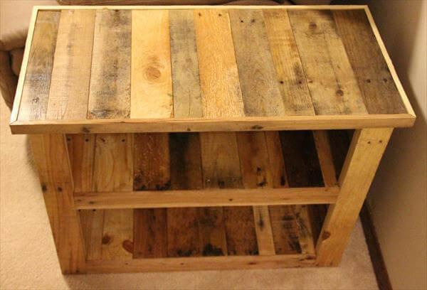 upcycled pallet side table with storage