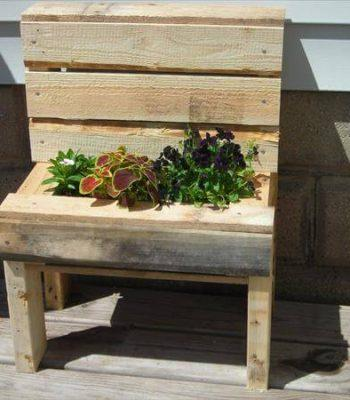 recycled pallet garden bench planter