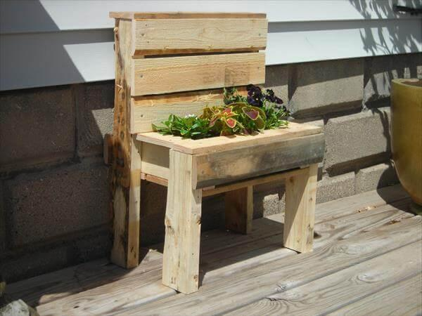 upcycled pallet bench planter
