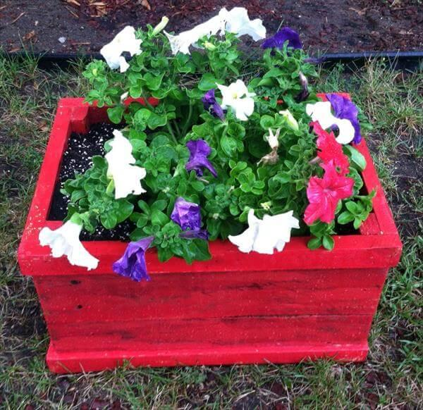 reclaimed pallet crate flower planter