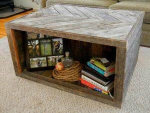 Chevron Pallet Coffee Table with Storage