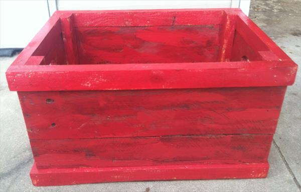 chic red pallet flower planter