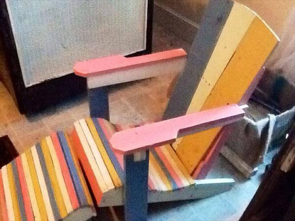 recycled pallet colorful adirondack chair for kids