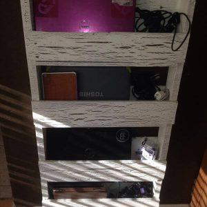 repurposed pallet laptop wall organizer