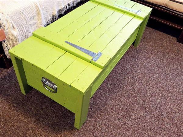 repurposed pallet light green trunk