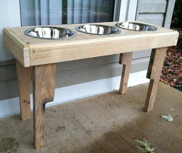 DIY Recycled Pallet Dog Bowl Stand – 101 Pallets