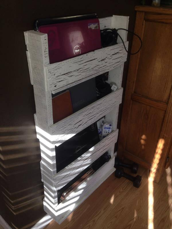 upcycled pallet laptop wall organizer