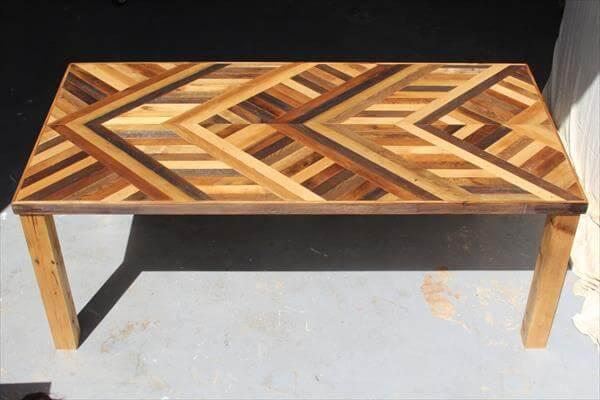 resurrected pallet chevron dining table