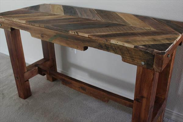 handcrafted pallet chevron table
