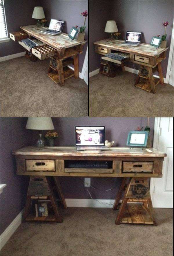 Diy Pallet Wood Distressed Table Computer Desk 101 Pallets
