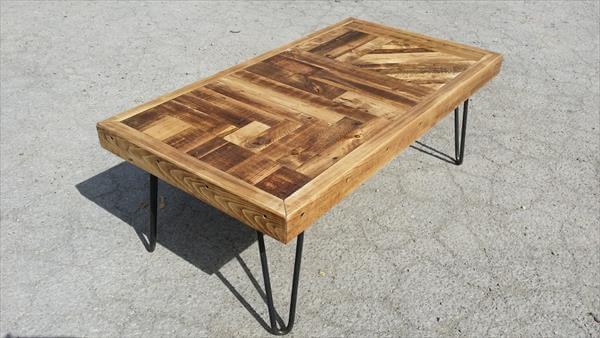 repurposed pallet metal coffee table