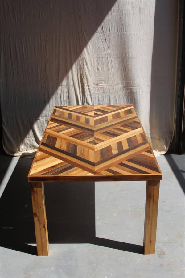 Diy Pallet Chevron Dining Table 101 Pallets