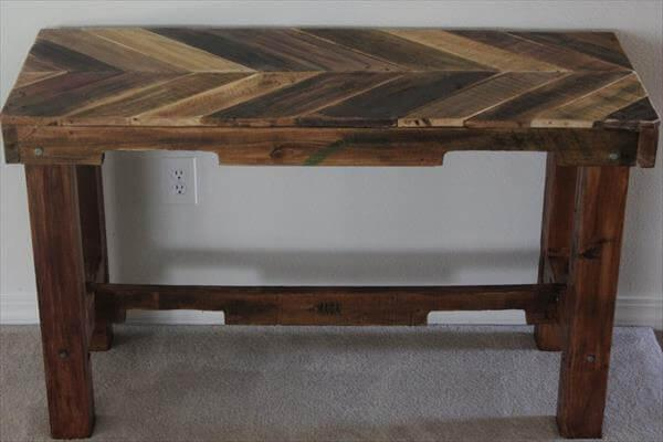 upcycled pallet chevron table