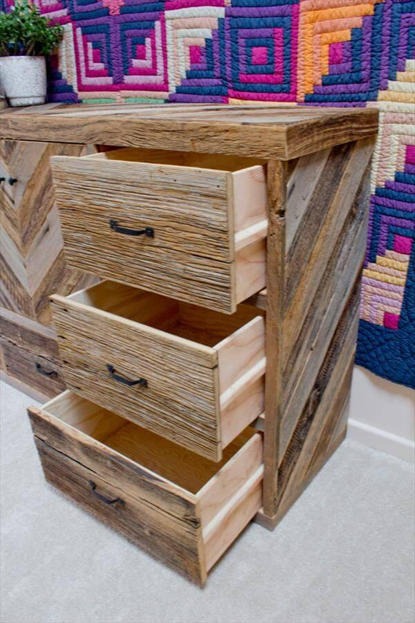 upcycled pallet dresser with multiple drawers