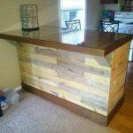 recycled pallet island table with oak trim