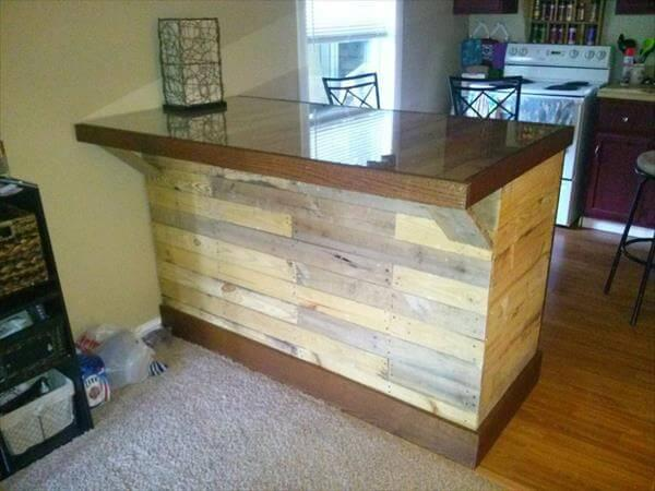 Diy Pallet Island Table With Glass Top 101 Pallets