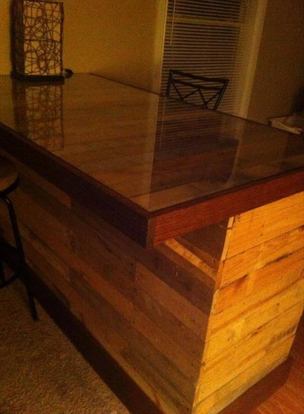 upcycled pallet island table with glass top