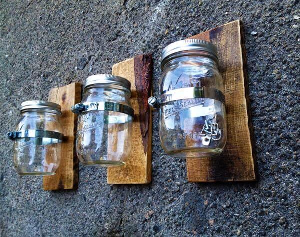upcycled pallet mason jar wall vases