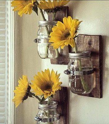 recycled pallet mason jar wall vases