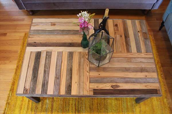 recycled pallet metal coffee table