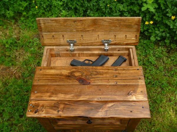 recycled pallet nightstand with gun storage