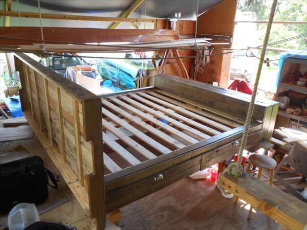 restored pallet platform bed with storage