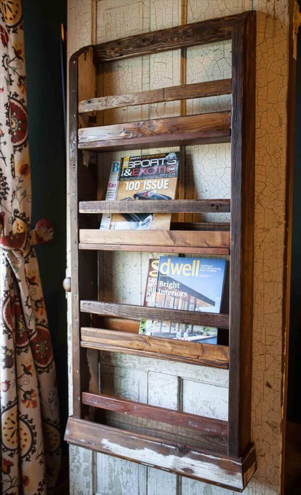 recycled pallet hanging magazine rack