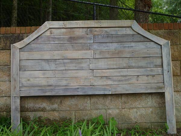 handcrafted curved pallet headboard