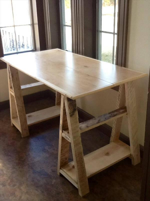 Wood Pallet Sawhorse Desk Design 101 Pallets