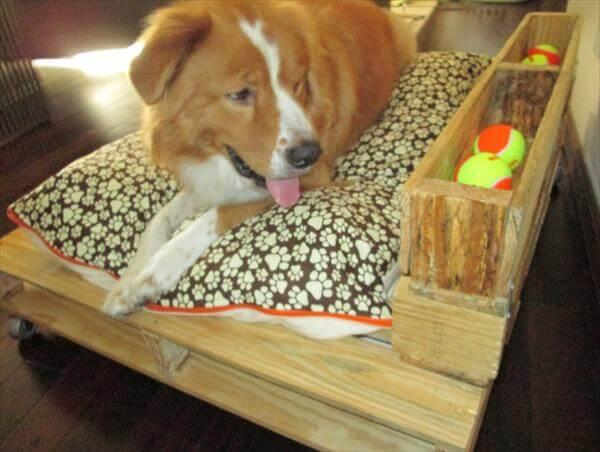 repurposed pallet dog bed with casters