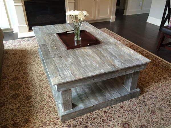 resurrected pallet onversize coffee table