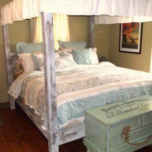 upcycled pallet bed with canopy
