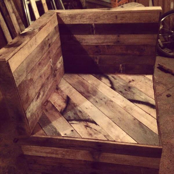 rustic pallet sectional chair