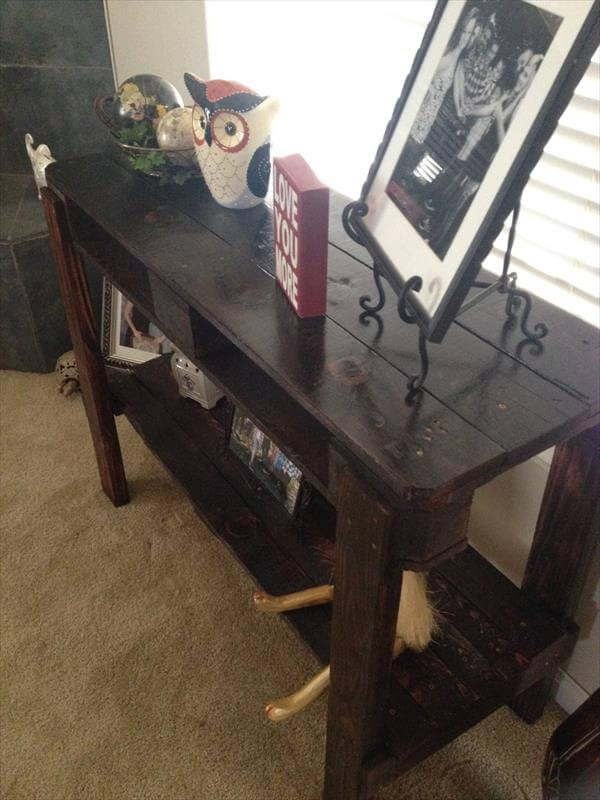 handcrafted pallet entry way table