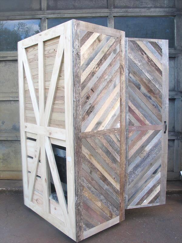 handcrafted pallet storage cabinet