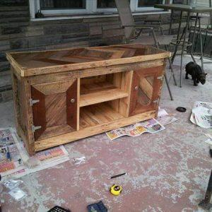 recycled pallet TV stand and console table